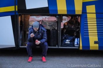 24/1/2016 - Altovicentino - Parma 1-2. Benassi in attesa di salire sul pullman.