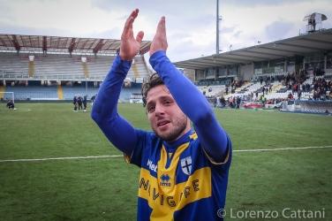 13/3/2016 - Romagna Centro - Parma 0-1. Le lacrime di Lauria dopo lo spettacolare gol in rovesciata nei minuti finali