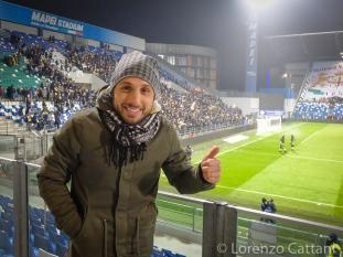 19/12/2016 - Reggiana - Parma 0-2. L'ex Fabio Lauria spettatore al Derby.