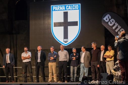 29/8/2015 - Presentazione Parma Calcio 1913. I 7 di Nuovo Inizio sul palco.