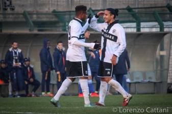29/11/2015 - Delta Rovigo - Parma 0-3. L'esultanza di Baraye e Giorgino dopo il terzo gol