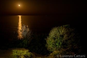 Alba lunare dalla spiaggia di Cala Verde