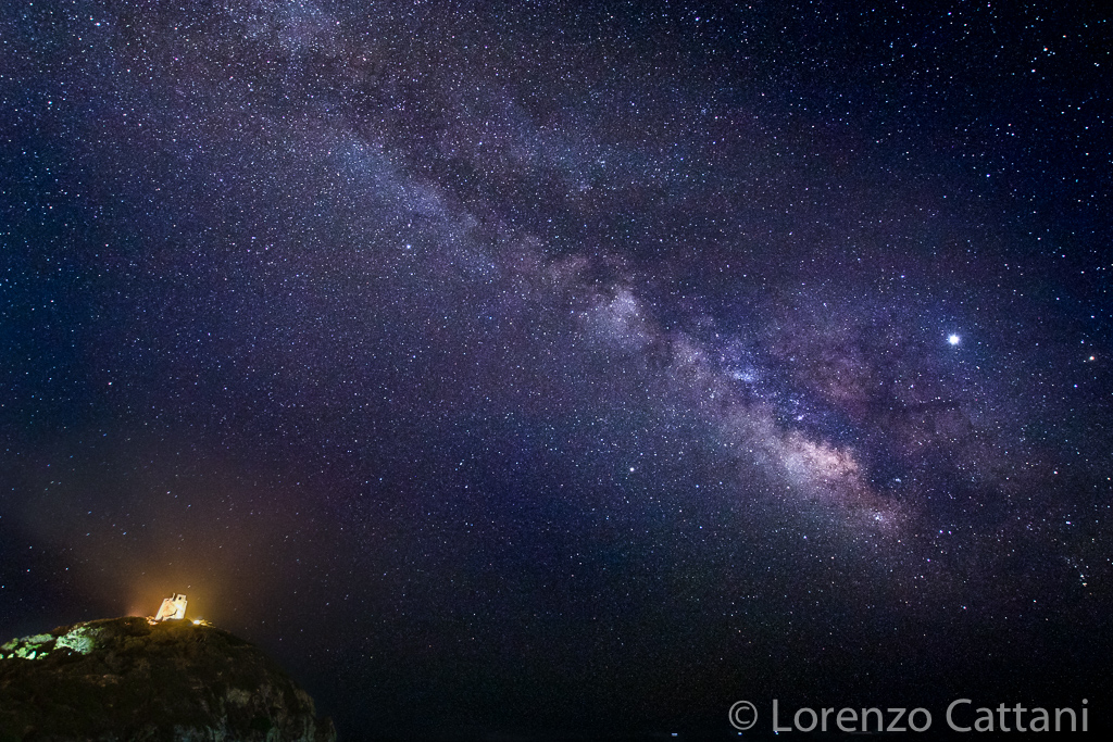 Via Lattea e Giove dalla spiaggia di Torre Chia