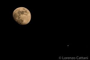 13/7/2019 - Congiunzione Luna e Giove. Sono visibili i 4 satelliti medicei di Giove: Io, Europa, Ganimede e Callisto