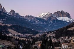 Sassolungo e Sassopiatto con tramonto sulla Val di Fassa
